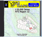 Buy digital map disk YellowMaps Canada Topo Maps: NTS Regions 32 from Quebec Maps Store