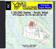 Buy digital map disk YellowMaps Canada Topo Maps: Arctic West from Northwest Territories Maps Store