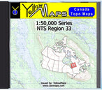 Buy digital map disk YellowMaps Canada Topo Maps: NTS Regions 33 from Quebec Maps Store