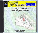 Buy digital map disk YellowMaps Canada Topo Maps: NTS Regions 56+57