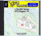 Buy digital map disk YellowMaps Canada Topo Maps: NTS Regions 74 from Saskatchewan Maps Store