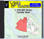 Buy digital map disk YellowMaps Canada Topo Maps: Canada West from Canada Maps Store