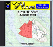 Buy digital map disk YellowMaps Canada Topo Maps: Canada West from New Brunswick Maps Store