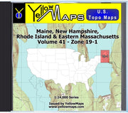 Buy digital map disk YellowMaps U.S. Topo Maps Volume 41 (Zone 19-1) Maine, New Hampshire, Rhode Island & Eastern Massachusetts from Maine Maps Store