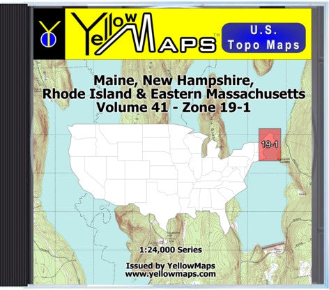 Buy digital map disk YellowMaps U.S. Topo Maps Volume 41 (Zone 19-1) Maine, New Hampshire, Rhode Island & Eastern Massachusetts