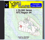 Buy digital map disk YellowMaps Canada Topo Maps: NTS Regions 94 from British Columbia Maps Store