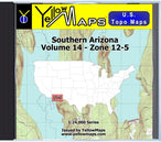 Buy digital map disk YellowMaps U.S. Topo Maps Volume 14 (Zone 12-5) Southern Arizona from Arizona Maps Store