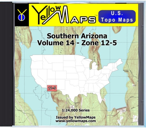 Buy digital map disk YellowMaps U.S. Topo Maps Volume 14 (Zone 12-5) Southern Arizona