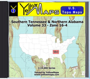 Buy digital map disk YellowMaps U.S. Topo Maps Volume 33 (Zone 16-4) Southern Tennessee & Northern Alabama from Tennessee Maps Store
