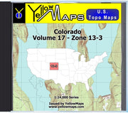 Buy digital map disk YellowMaps U.S. Topo Maps Volume 17 (Zone 13-3) Colorado from Colorado Maps Store