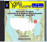 Buy digital map disk YellowMaps U.S. Topo Maps Volume 39 (Zone 18-1) New York, Vermont, Connecticut & Western Massachusetts from New York Maps Store