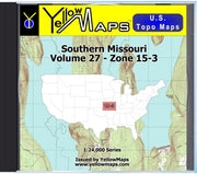 Buy digital map disk YellowMaps U.S. Topo Maps Volume 27 (Zone 15-3) Southern Missouri from Missouri Maps Store