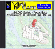 Buy digital map disk YellowMaps Canada Topo Maps: Arctic East from Nunavut Maps Store