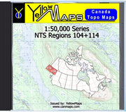 Buy digital map disk YellowMaps Canada Topo Maps: NTS Regions 104+114 from British Columbia Maps Store