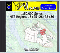 Buy digital map disk YellowMaps Canada Topo Maps: NTS Regions 16+25+26+35+36