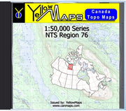 Buy digital map disk YellowMaps Canada Topo Maps: NTS Regions 76 from Nunavut Maps Store