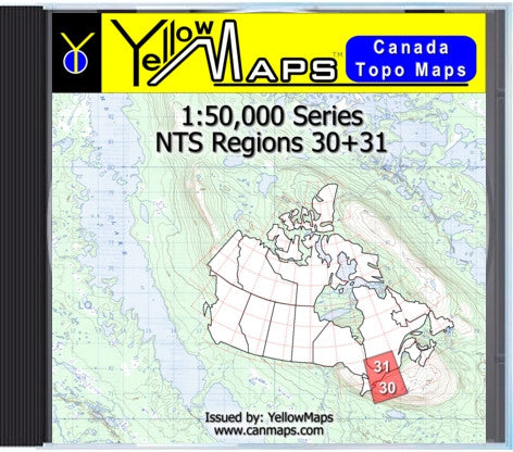Buy digital map disk YellowMaps Canada Topo Maps: NTS Regions 30+31
