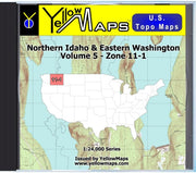 Buy digital map disk YellowMaps U.S. Topo Maps Volume 5 (Zone 11-1) Northern Idaho & Eastern Washington from Idaho Maps Store