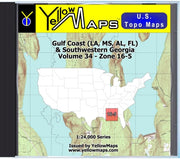 Buy digital map disk YellowMaps U.S. Topo Maps Volume 34 (Zone 16-5) Gulf Coast (LA, MS, AL, FL) & Southwestern Georgia from Georgia Maps Store