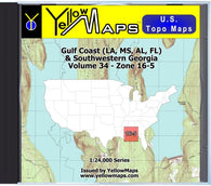 Buy digital map disk YellowMaps U.S. Topo Maps Volume 34 (Zone 16-5) Gulf Coast (LA, MS, AL, FL) & Southwestern Georgia