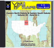 Buy digital map disk YellowMaps U.S. Topo Maps Volume 20 (Zone 14-1) Eastern North Dakota & Eastern South Dakota from South Dakota Maps Store