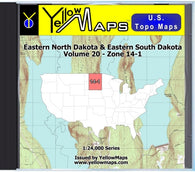Buy digital map disk YellowMaps U.S. Topo Maps Volume 20 (Zone 14-1) Eastern North Dakota & Eastern South Dakota