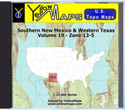 Buy digital map disk YellowMaps U.S. Topo Maps Volume 19 (Zone 13-5) Southern New Mexico & Western Texas from New Mexico Maps Store