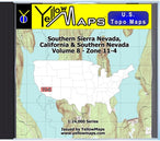 Buy digital map disk YellowMaps U.S. Topo Maps Volume 8 (Zone 11-4) Southern Sierra Nevada, California & Southern Nevada from California Maps Store