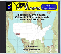 Buy digital map disk YellowMaps U.S. Topo Maps Volume 8 (Zone 11-4) Southern Sierra Nevada, California & Southern Nevada