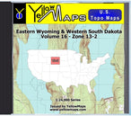 Buy digital map disk YellowMaps U.S. Topo Maps Volume 16 (Zone 13-2) Eastern Wyoming & Western South Dakota from Wyoming Maps Store
