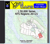 Buy digital map disk YellowMaps Canada Topo Maps: NTS Regions 20+21