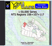 Buy digital map disk YellowMaps Canada Topo Maps: NTS Regions 106+107+117 from Yukon Maps Store