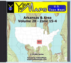 Buy digital map disk YellowMaps U.S. Topo Maps Volume 28 (Zone 15-4) Arkansas & Area from Arkansas Maps Store