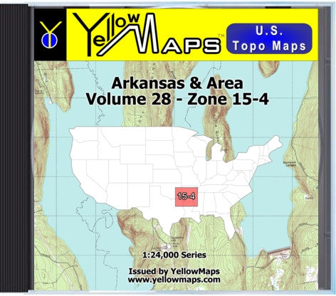 Buy digital map disk YellowMaps U.S. Topo Maps Volume 28 (Zone 15-4) Arkansas & Area