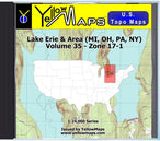 Buy digital map disk YellowMaps U.S. Topo Maps Volume 35 (Zone 17-1) Lake Erie & Area (MI, OH, PA, NY) from Ohio Maps Store