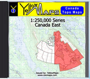 Buy digital map disk YellowMaps Canada Topo Maps: Canada East from Atlantic Provinces: NB, NS, PE Maps Store