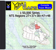 Buy digital map disk YellowMaps Canada Topo Maps: NTS Regions 27+37+38+47+48