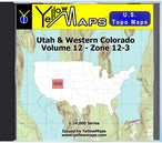 Buy digital map disk YellowMaps U.S. Topo Maps Volume 12 (Zone 12-3) Utah & Western Colorado from Utah Maps Store