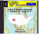 Buy digital map disk YellowMaps U.S. Topo Maps Volume 12 (Zone 12-3) Utah & Western Colorado