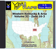 Buy digital map disk YellowMaps U.S. Topo Maps Volume 32 (Zone 16-3) Western Kentucky & Area from Kentucky Maps Store