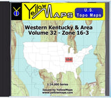 Buy digital map disk YellowMaps U.S. Topo Maps Volume 32 (Zone 16-3) Western Kentucky & Area