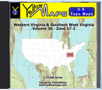 Buy digital map disk YellowMaps U.S. Topo Maps Volume 36 (Zone 17-2) Western Virginia & Southern West Virginia from Virginia Maps Store