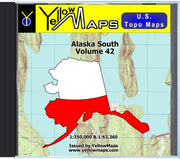 Buy digital map disk YellowMaps U.S. Topo Maps Vol. 42 - Alaska South from Alaska Maps Store