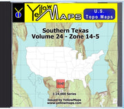 Buy digital map disk YellowMaps U.S. Topo Maps Volume 24 (Zone 14-5) Southern Texas from Texas Maps Store