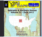 Buy digital map disk YellowMaps U.S. Topo Maps Volume 21 (Zone 14-2) Nebraska & Northern Kansas from Nebraska Maps Store
