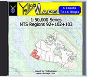 Buy digital map disk YellowMaps Canada Topo Maps: NTS Regions 92+102+103 from Canada Maps Store