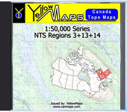 Buy digital map disk YellowMaps Canada Topo Maps: NTS Regions 3+13+14 from Newfoundland Maps Store