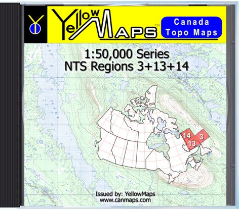 Buy digital map disk YellowMaps Canada Topo Maps: NTS Regions 3+13+14