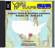 Buy digital map disk YellowMaps U.S. Topo Maps Volume 29 (Zone 15-5) Eastern Texas & Southern Louisiana from Louisiana Maps Store