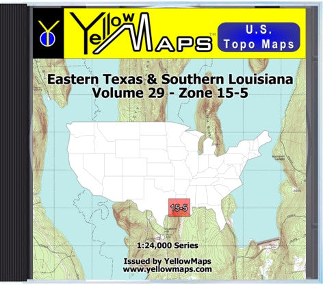 Buy digital map disk YellowMaps U.S. Topo Maps Volume 29 (Zone 15-5) Eastern Texas & Southern Louisiana